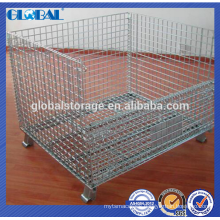 Industrial stackable collapsible wire mesh container