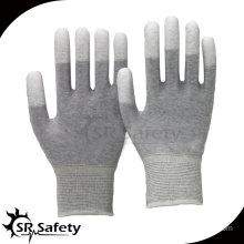 SRSAFETY 13G PU Coated Finger Gloves/Electronic safety working gloves/PU coated work gloves/ESD gloves