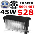 Aluminium moulé sous pression IP65 45w 60w 80w 100w 120w LED mur d'éclairage extérieur UL DLC ETL avec fonction d'urgence