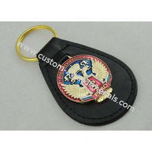 Transparent Soft Enamel Personalized Leather Keychains For