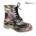 Women′s Garden Floral Lace up PVC Rain Boot