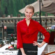 Fashion Restaurant Hotel Uniform Women Female Waitress Shirt Long Sleeve Hidden Placket