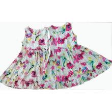 Moda flor menina dos miúdos vestido em crianças vestuário para o verão (sqd-110)
