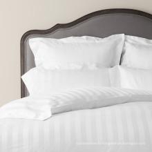 Linge de lit de rayure de Dobby de vente directe d'usine pour l'hôtel et la maison