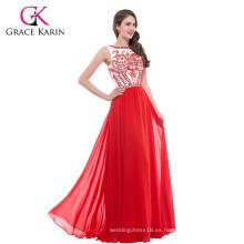 Grace Karin elegante piso de longitud sin mangas con cuentas de color rojo vestido de noche formal abendkleider rojo largo CL7531