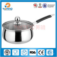 long handle stainless steel milk /sauce pan with glass lid