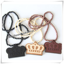 Black Wooden Crown Pendant with a 36 Inch Wood Beaded Necklace Excellent Quality Chain (IO-wn032)