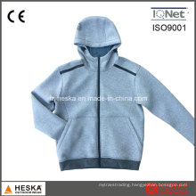 Hooded Sweatshirt Contrast Color Space Knitting Jacket