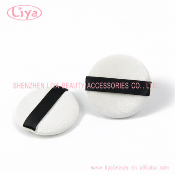 Round Cotton Pad Cosmetic Puff With Black Ribbon