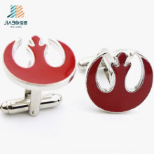Custom Supply Zinc Alloy Red Enamel Metal Cufflink for Promotion