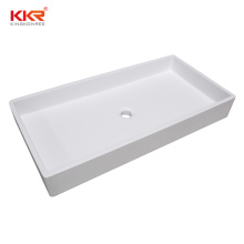 White Artificial Stone Acrylic Resin Solid Surface Custom Marble Table Top Bathroom Above Countertop Sink