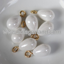 10*14MM Faux Pearl White Teardrop Charms Pendants Drops