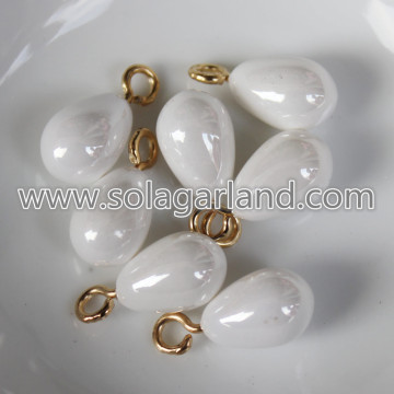 10 * 14MM Faux parel wit Teardrop charmeert Hangers Drops