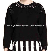 Ladies' Pullover Sweater with Beads, OEM and ODM Orders WelcomedNew