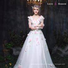 XXLF177 vestido profundo nighty v-neck vestido vestido de flor vestido longo vestido de lantejoulas de manga comprida