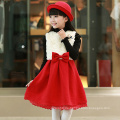 Winter Kinder Weihnachten Party Spitze Trim Pinafore roten Bogen Neujahr appliqued Kleid Winter heißer Verkauf Pelz Kleidung Kinder