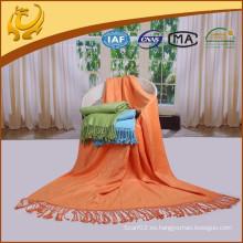 De alta calidad de material de bambú de viaje Throw plana cepillado manta térmica tejida para el coche
