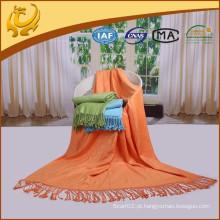 Material de bambu de alta qualidade que viaja lança manta térmica sem costura escovada para carro