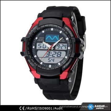 3 atm relógios resistentes a água homens, relógio digital de movimento duplo