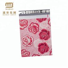 Haute Qualité Emballage D'emballage Décoratif Rose Motif Personnalisé En Couleur Imprimé En Gros Rose Poly Mailer