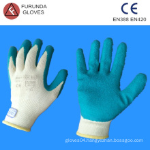 china best selling 10 gauge 5 thread polycotton knitted working gloves with foam latex palm