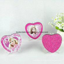 Caixa de lata metálica personalizada para presente com forma de coração