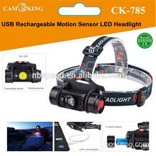 USB rechargeable LED aluminum Headlamp with Motion Sensor,Rechargeable lithium battery and mirco USB cable included