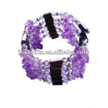 Magnetic Purple Glass Chip Beaded wrap Bracelets & Necklace 36""