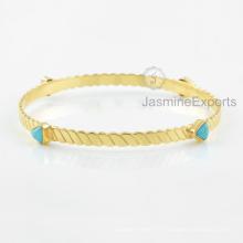 Fournisseur de gros pour la pierre turquoise Arizona Bracelet, 18k Bracelet en or pour les femmes