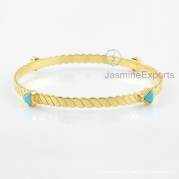 Fornecedor de atacado para o Arizona Turquoise Gemstone Bangle, pulseiras de ouro 18k para mulheres