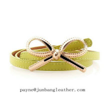 Fashion Metal Bow Adjustable Leather Waist Belt for Women Lady Belt Waistband