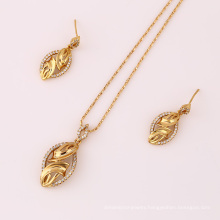 61630 fashion hot sale 18k gold dubai wedding earring and pendant gold plated jewelry sets