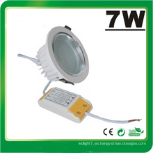 Lámpara LED Dimmable 7W LED Down Luz LED Luz