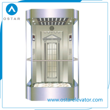 800kg~1600kg 1.0m/S Glass Observation Lift Passenger Elevator
