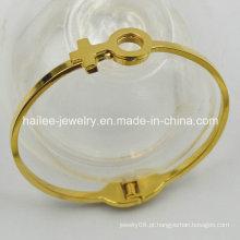 Moda banhado a ouro pulseira de aço inoxidável