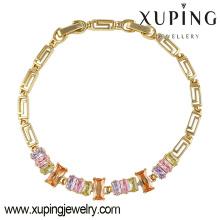 Moda Xuping Charm CZ Diamond 14k Pulsera de mujer de imitación chapada en oro-74305