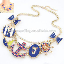 Big brand exaggerate metal anchor bowknot skull crocodile necklace
