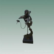 Бюсты Латунь Статуя Виолончелист Украшения Бронзовая Скульптура Т-482