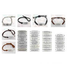 17cm Fashion Free Custom Silver Plate Leather Bracelet