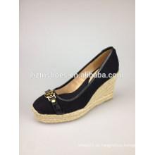 Wedge Sandale neue 2014 Sommer Frauen echtes Leder Schuh Hausschuhe Frau Sandalen Kristall Dekoration schwarz Kausale Schuhe
