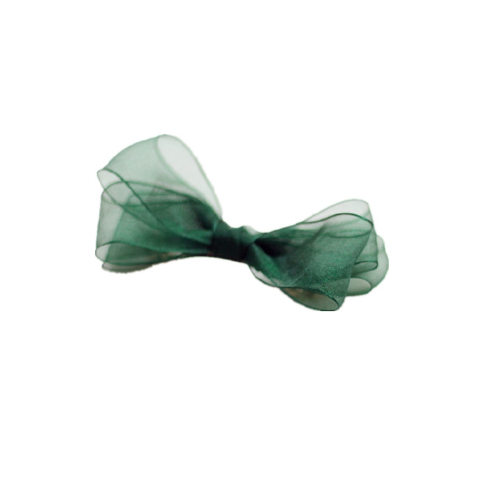 Organza Bow deep green