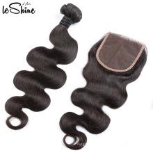 Wholesale Human Hair Distributors Grade 9a Virgin Remy Hair Bundles Body Wave Lace Closure