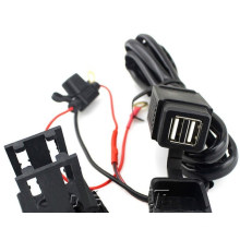 Motorcycle 12V 2.1A USB Power Port Socket Mobile Charger Dual Port for Phone GPS
