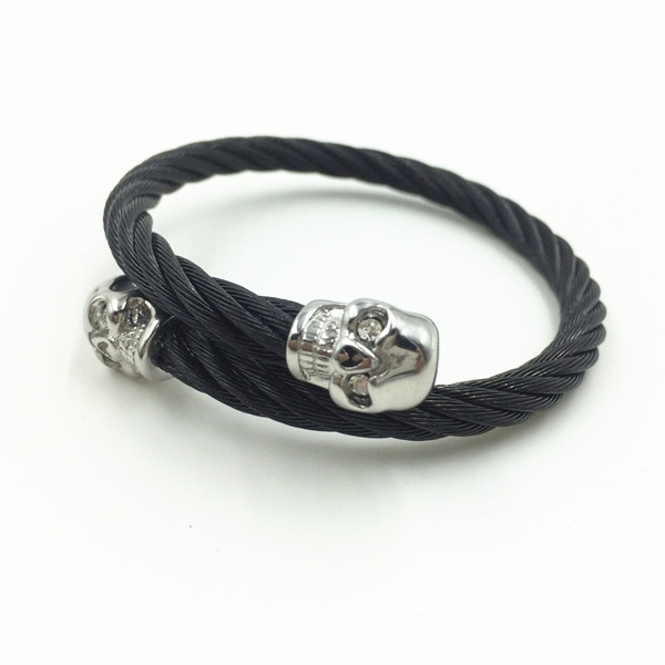 Stainless steel Wire Skull Head Mens Bangles