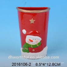 Humidificateur en céramique à décoration de Noël avec figurine en bonhomme de neige