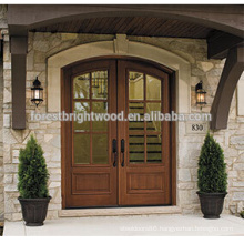 Entry Glass Door Solid Wood Door Exterior Carved Wood Door
