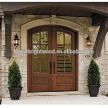 Porta de madeira cinzelada exterior da porta da porta de vidro da porta da entrada de madeira