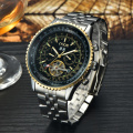 Big dail tourbillon steel men's mechanical watchs