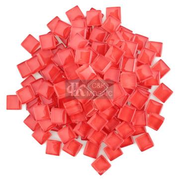 Piezas de vidrio rojo a granel para suministros de mosaico