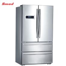 A porta do francês do dispositivo de cozinha de lado a lado automático degela o refrigerador